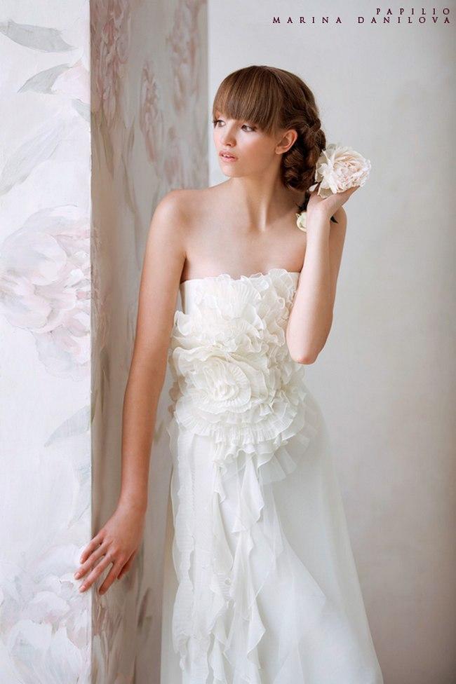 Красивые свадебные платья фото 2012, различные стили свадебных платьев короткие, пышные, необычные (24)