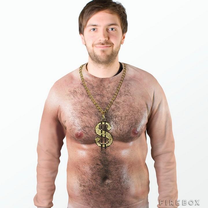 Прикольная футболка с волосатой грудью
