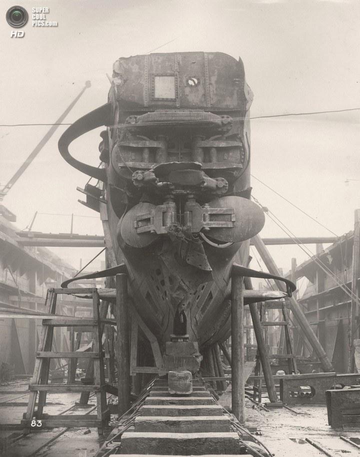 Немецкая подлодка SM UB-110, устройство, вид изнутри (1)