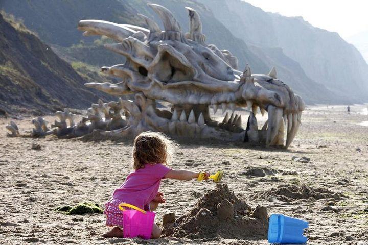 Череп дракона на пляже в Великобритании (1)