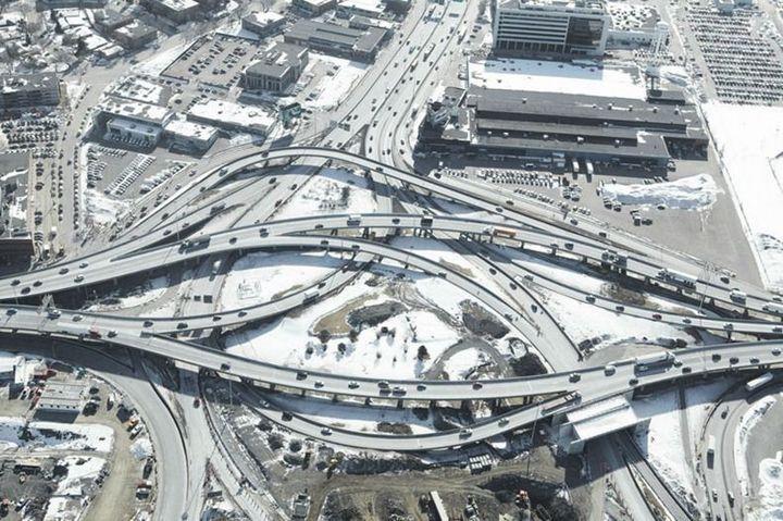 Фото сверху, сложные и запутанные автомобильные дорожные развязки (10)