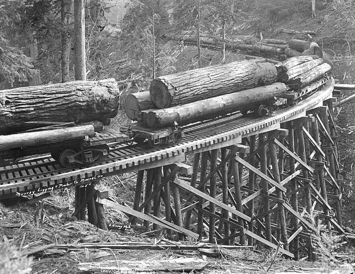 Как раньше строили железнодорожные мосты из бревен (дерева), деревянные мосты (1)