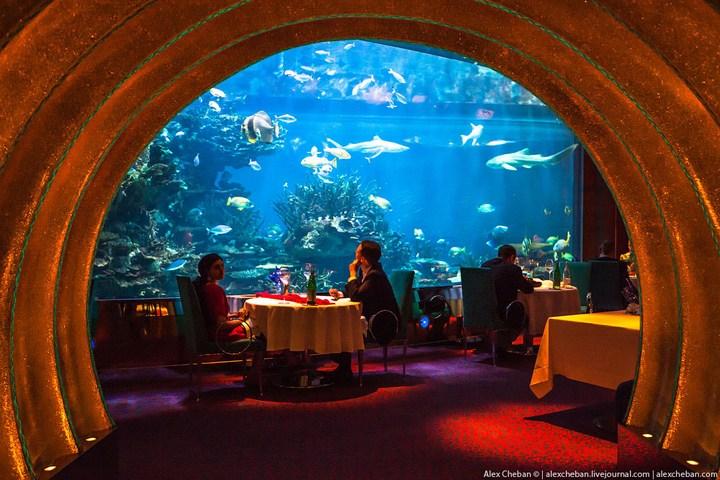 Необычный ресторан-аквариум в отеле «Бурж Аль Араб» (9)