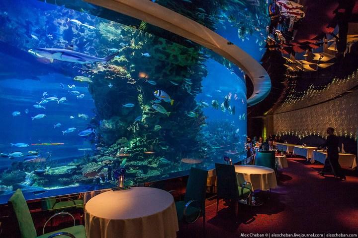 Необычный ресторан-аквариум в отеле «Бурж Аль Араб» (13)