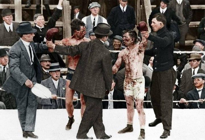 Боксерский поединок между Реем Кэмпбеллом и Диком Хайленд. Май 1913 год