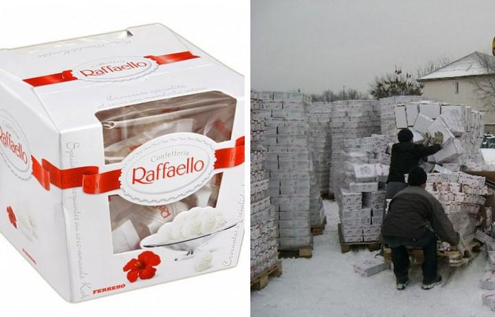 Как уничтожают конфеты Raffaello с истекшим сроком годности (1)