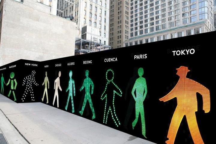 The Walking Men – идущие зеленые человечки со светофоров пешеходного перехода (1)