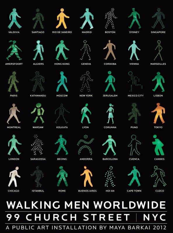 The Walking Men – идущие зеленые человечки со светофоров пешеходного перехода (2)
