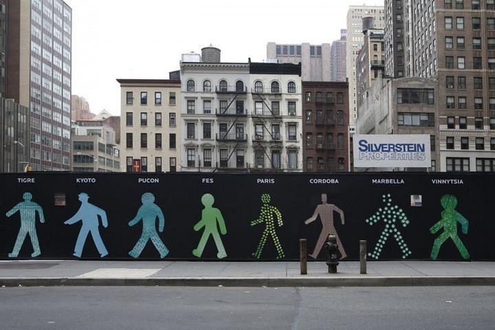 The Walking Men – идущие зеленые человечки со светофоров пешеходного перехода (7)