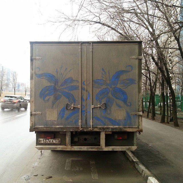 Рисунки на грязных автомобилях (2)