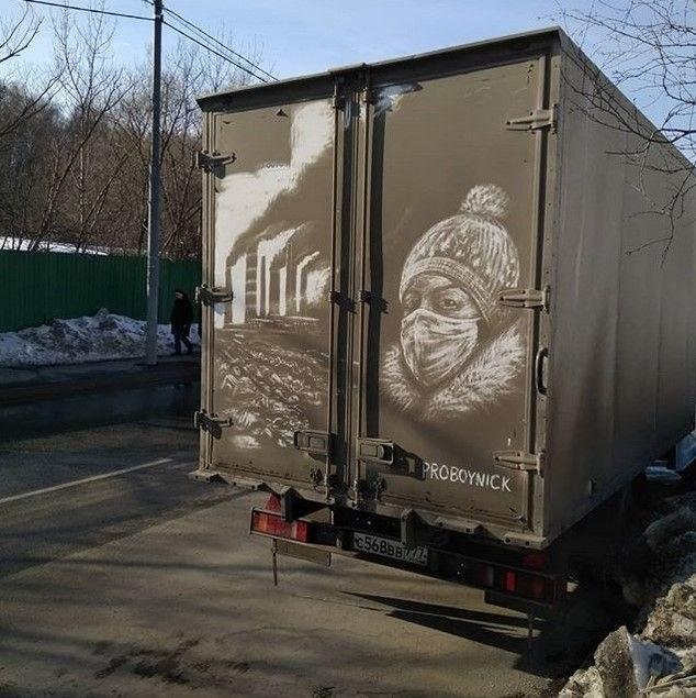 Крутые рисунки на грязных грузовиках (7)