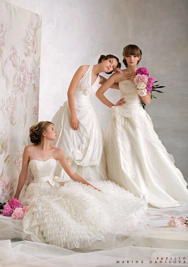 Красивые свадебные платья фото 2012, различные стили свадебных платьев короткие, пышные, необычные (1)