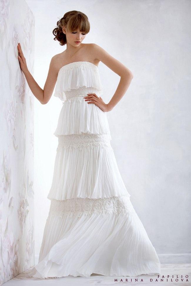Красивые свадебные платья фото 2012, различные стили свадебных платьев короткие, пышные, необычные (30)