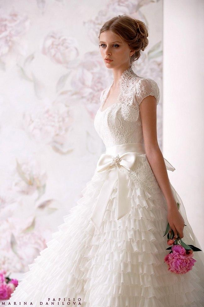 Красивые свадебные платья фото 2012, различные стили свадебных платьев короткие, пышные, необычные (31)