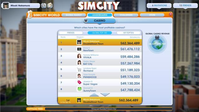Доска лидеров в SimCity