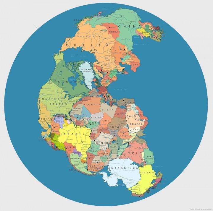 Границы стран 300 миллионов лет назад, объединение материков, карта