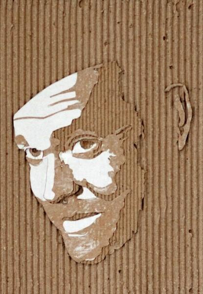 Портреты на гофрированном картоне необычные картины на гофротаре (11)