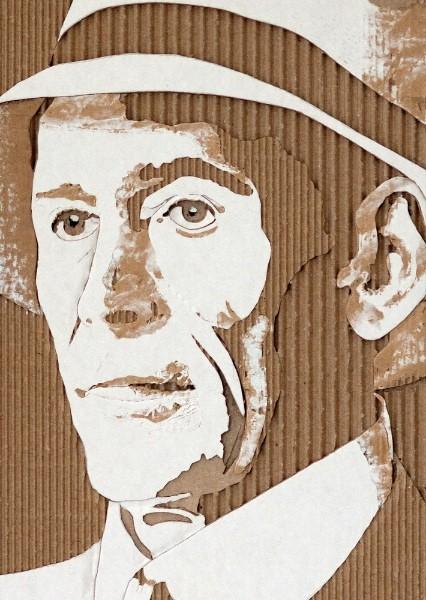Портреты на гофрированном картоне необычные картины на гофротаре (10)