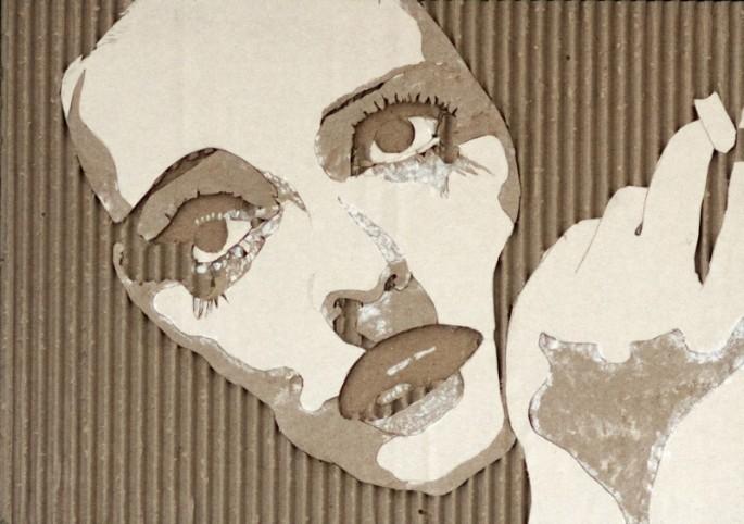 Портреты на гофрированном картоне необычные картины на гофротаре (6)