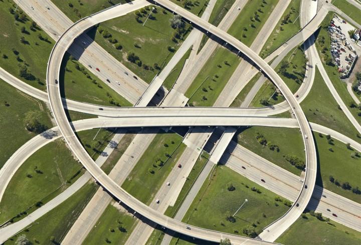 Фото сверху, сложные и запутанные автомобильные дорожные развязки (2)