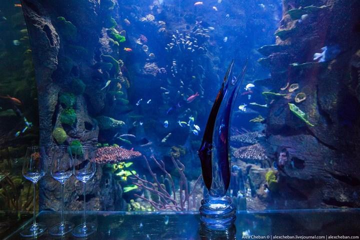 Необычный ресторан-аквариум в отеле «Бурж Аль Араб» (12)