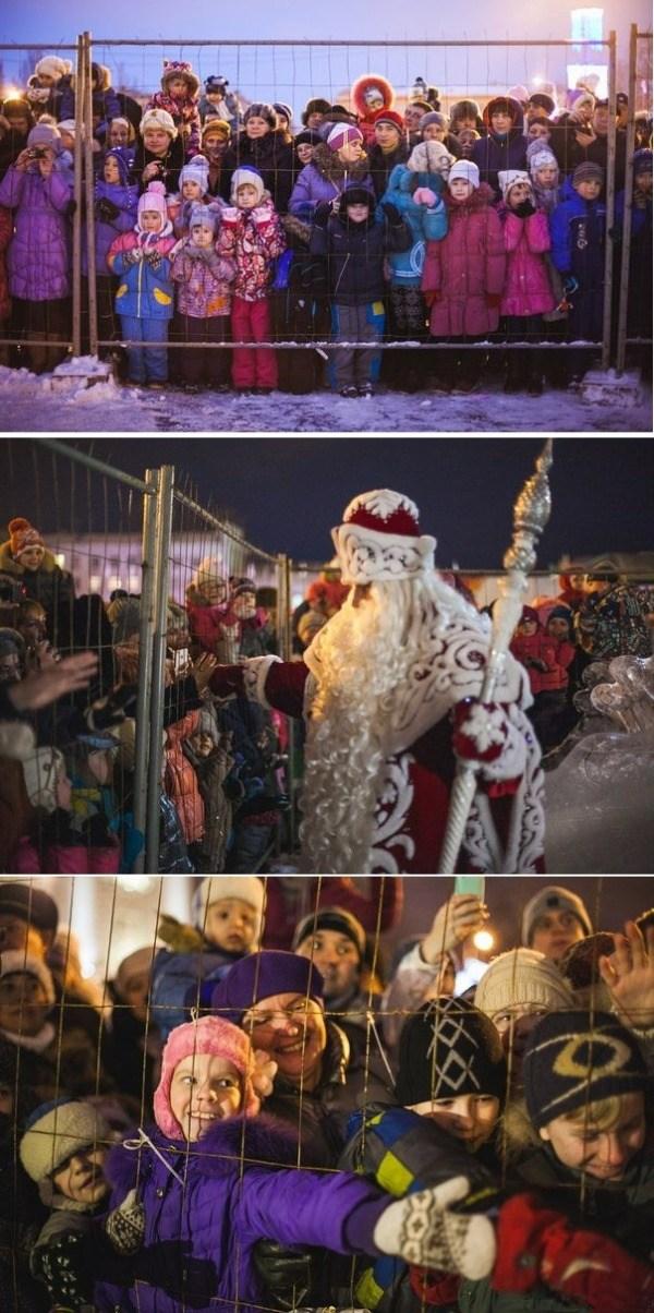 Дети встречают Деда Мороза за решёткой