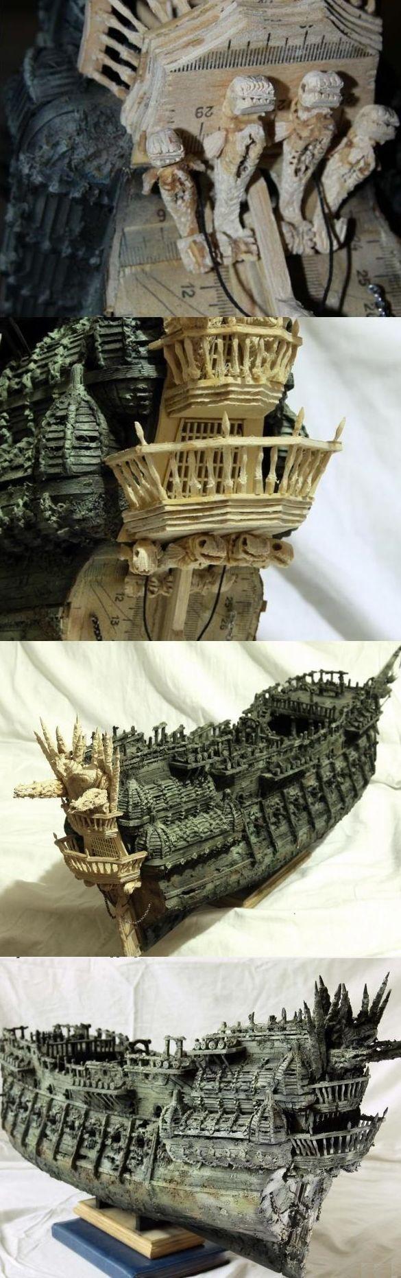 """Модель легендарного корабля """"Летучий голландец"""" своими руками (8)"""