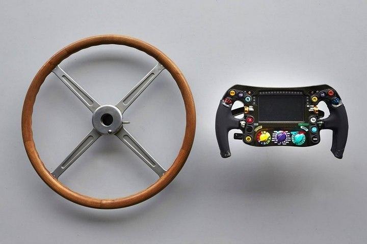 Как изменился руль болида Формулы-1. 1954 и 2014 год