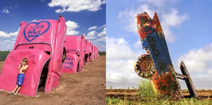 Необычный арт-объект «Ранчо Кадиллак» в Техасе (10)