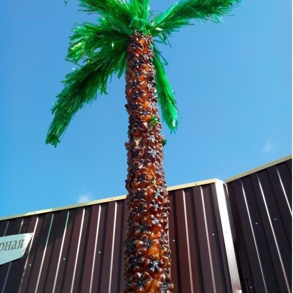 Как сделать пальму из пластиковых бутылок (9)