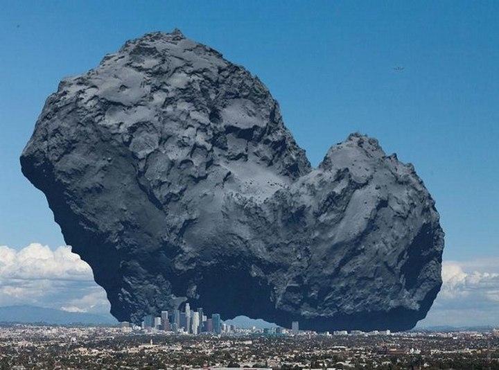 Размер кометы Чурюмова — Герасименко, чтоб вы понимали. Внизу Лос-Анджелес