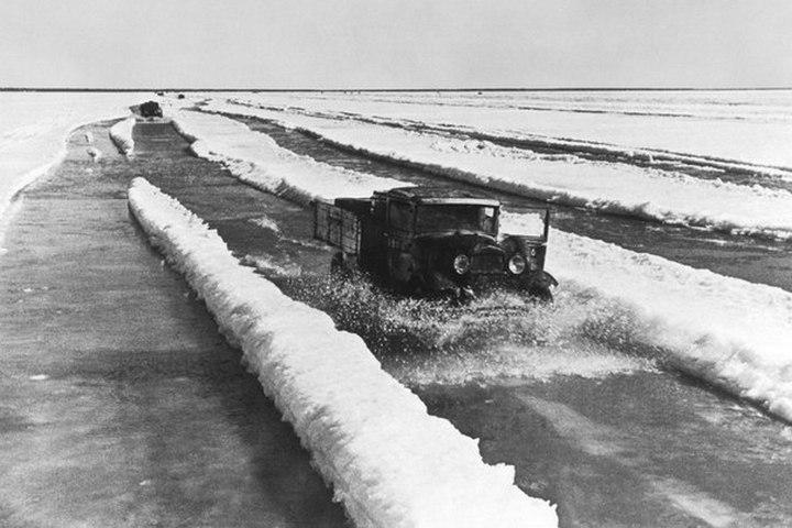 Ледовая дорога жизни, блокадный Ленинград (1)
