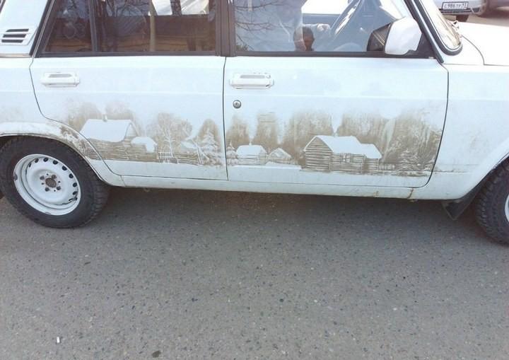 Рисунок на грязной машине (2)