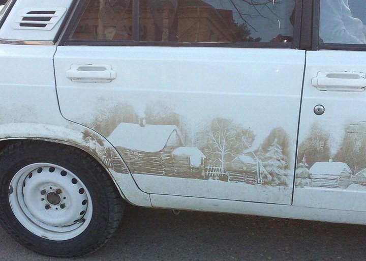Рисунок на грязной машине (3)