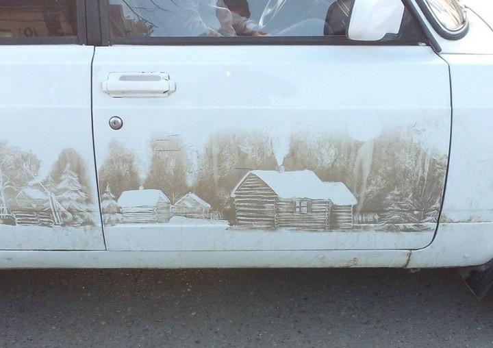 Рисунок на грязной машине (4)