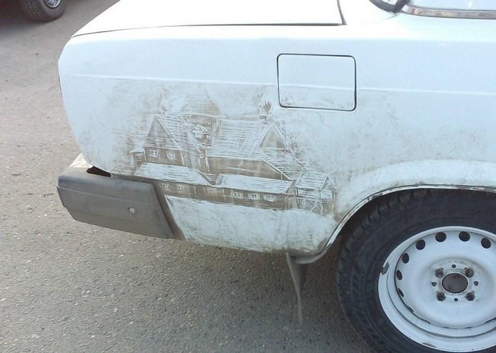 Рисунок на грязной машине (5)