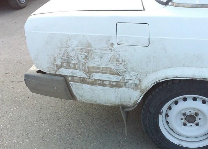 Рисунок на грязной машине (6)