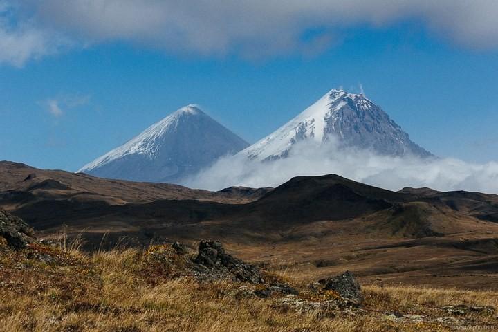 Лавовый поток вулкана Толбачик, гора Камень и Ключевская сопка (45)