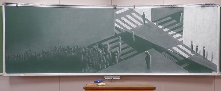 Картины мелом японских школьников (2)