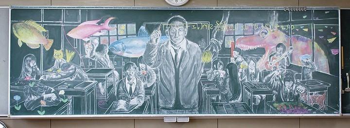 Картины мелом японских школьников (8)