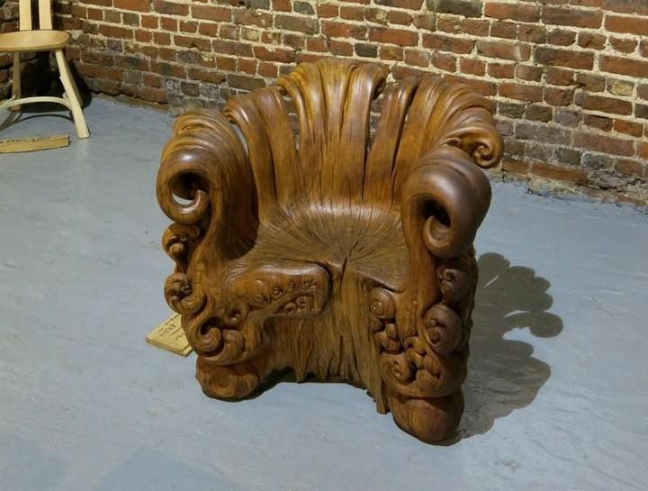 Уникальное кресло из корня дуба (10)