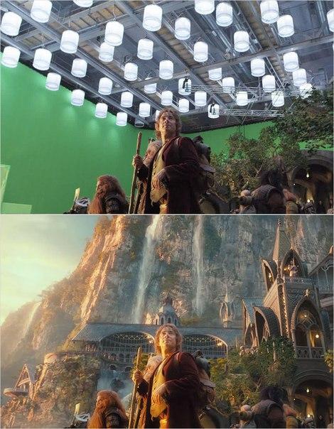 Сцены из фильмов до и после спецэффектов (7)
