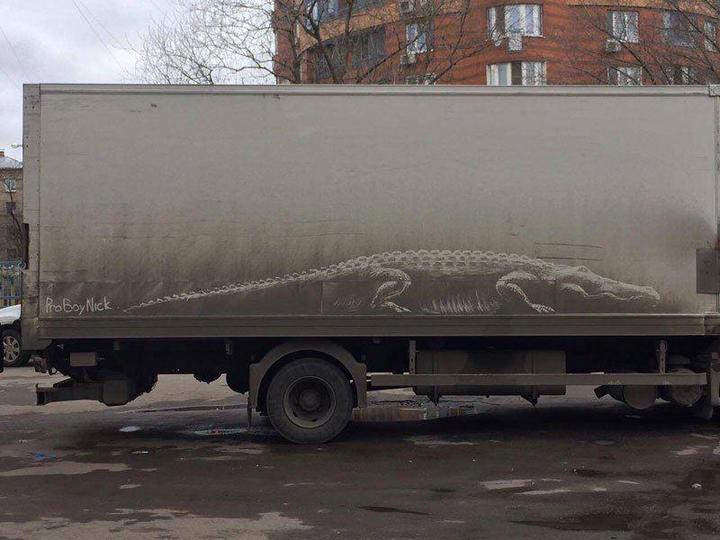 Рисунки на грязных автомобилях (1)