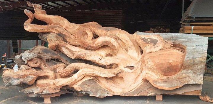 Превращение корня дерева в гигантского осьминога (3)