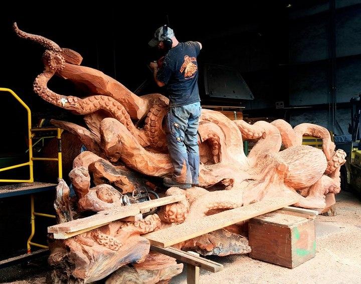 Превращение корня дерева в гигантского осьминога (4)