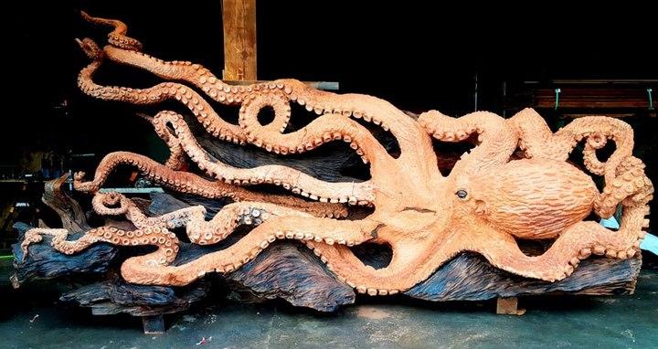 Превращение корня дерева в гигантского осьминога (12)