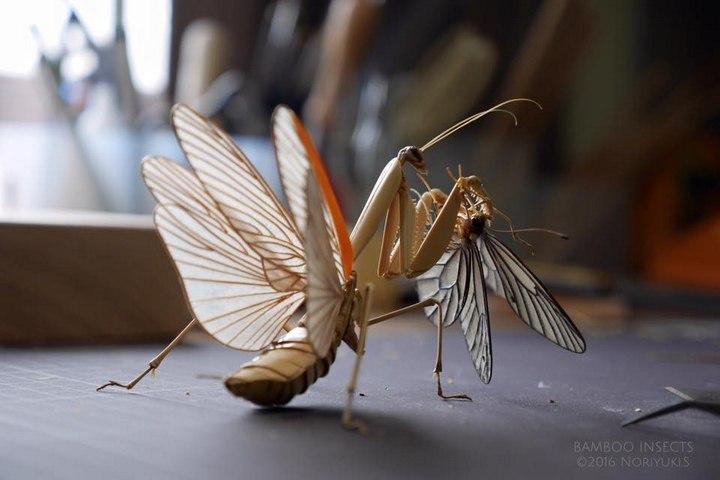 Деревянные скульптуры насекомых от Noriyuki Saitoh (1)