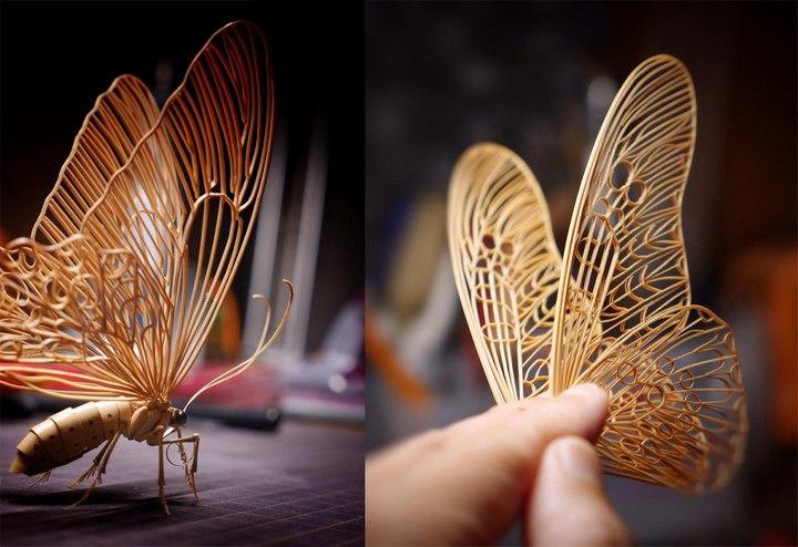 Деревянные скульптуры насекомых от Noriyuki Saitoh (13)
