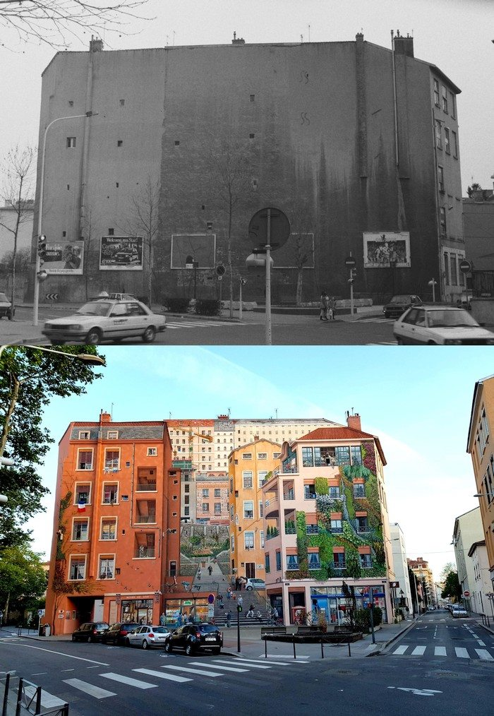 Здание в Лионе до и после покраски